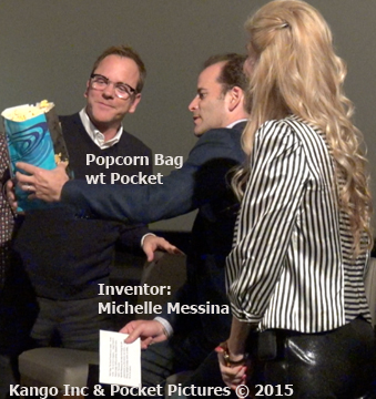 Kiefer Sutherland inventor Michelle Messina Presented with Patented Popcorn bag with pocket