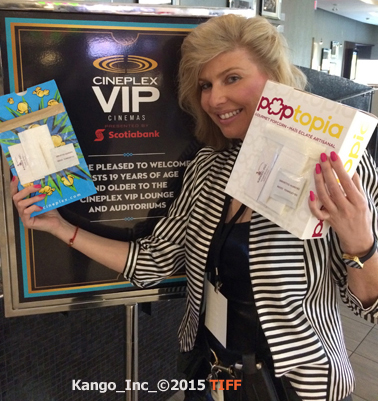Inventor Michelle Messina with Kango Pocket on Popcorn Bag TIFF Cineplex VIP Theatres